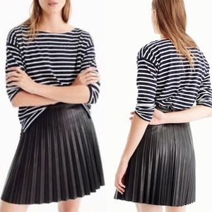 J. Crew — Faux Leather Black Pleated Mini Skirt 4